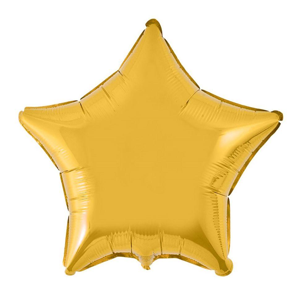 Balão Metalizado de Estrela 45 cm Dourado 1 unid