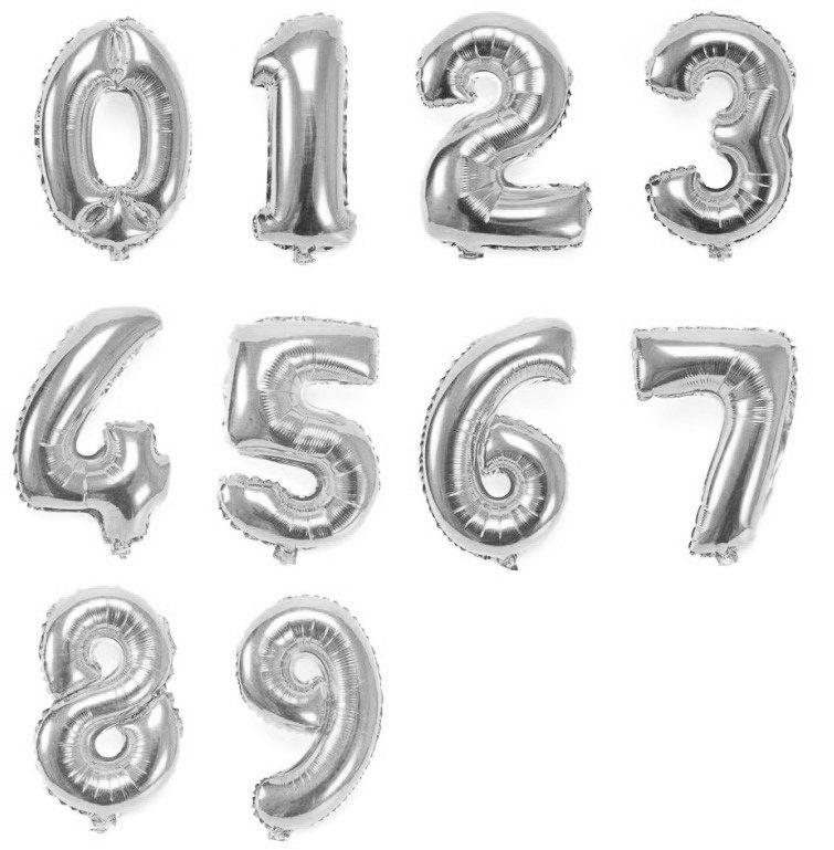 Balão de Número Metalizado Prata 45 cm