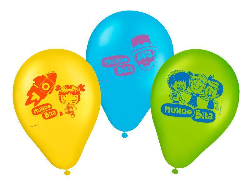 Balões de Aniversário Bexigas Mundo Bita pacote com 25 unid
