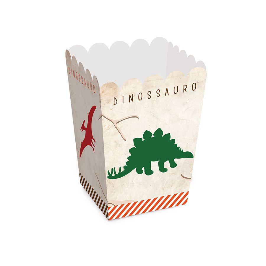Caixinha de Pipoca Festa Dinossauro kit com 10 unid
