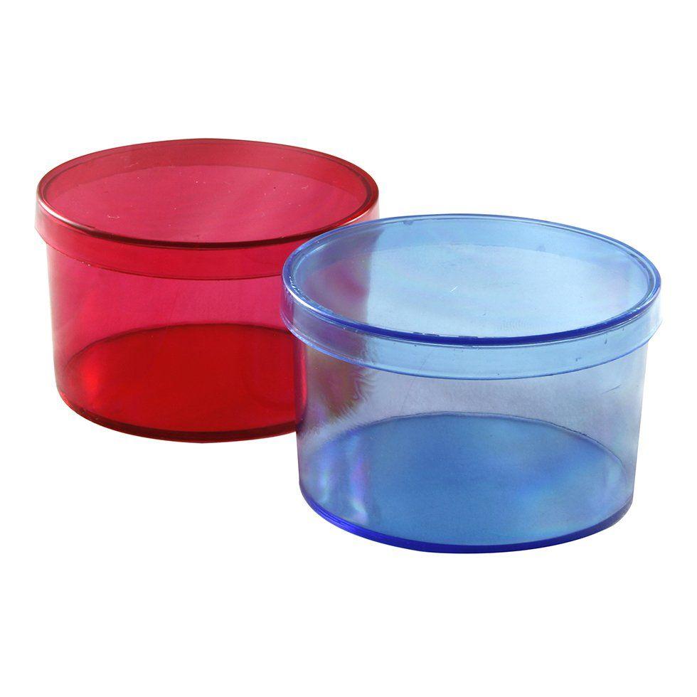Caixinha Acrílica Redonda colorida kit com 10 unid
