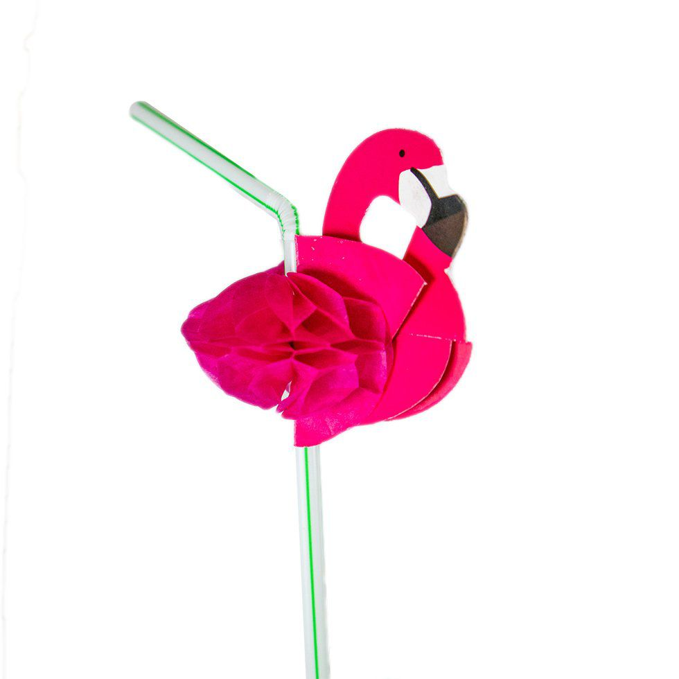 Canudo de Flamingo para Enfeite de Drinks (12 unid.)