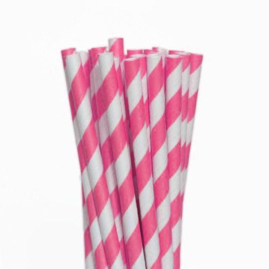 Canudo de Papel Descartável Listrado Pink pct com 20 unid