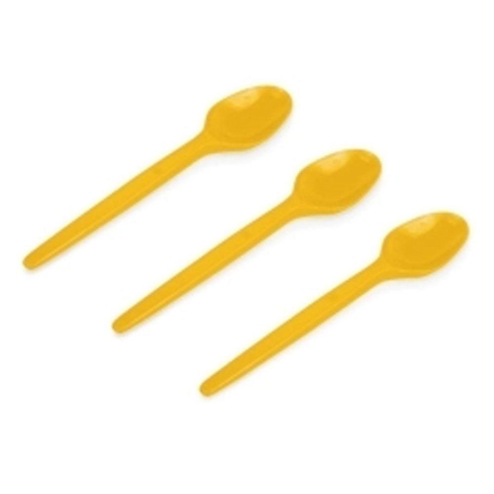 Colher Descartável de Plástico Sobremesa Amarela pct com 50 unid