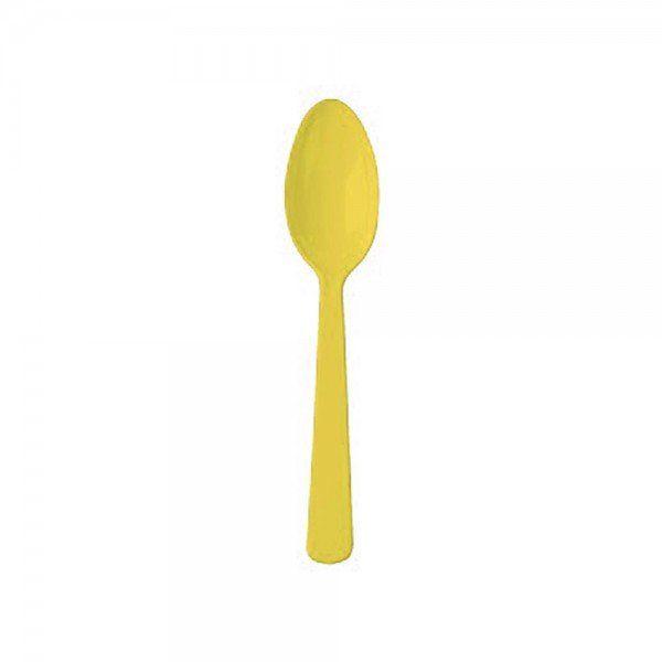 Colher descartável refeição Amarela pacote com 10 unid