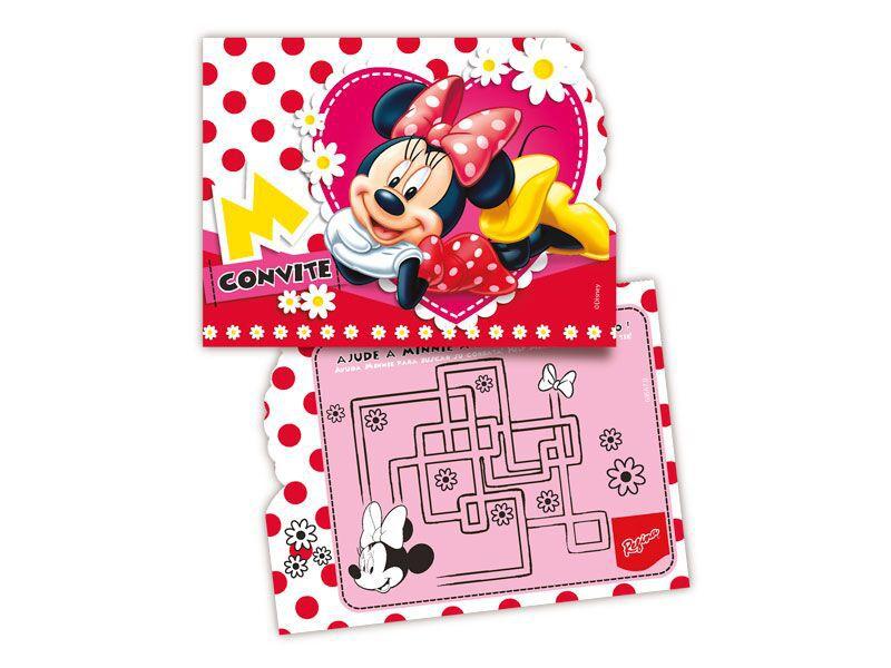 Convite de Festa de Aniversário da Minnie - kit com 8 unid
