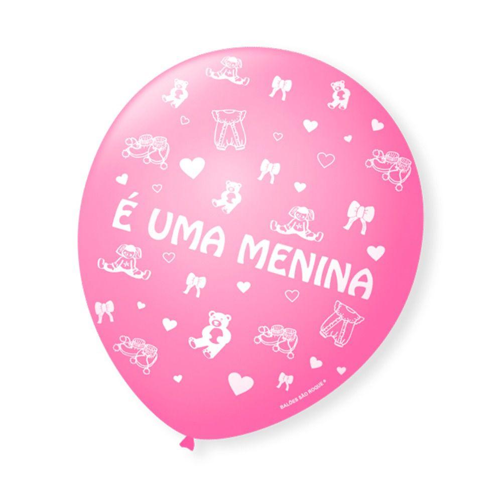 CÓPIA - Balão Bexiga Decorada É uma Menina pct com 25 unid