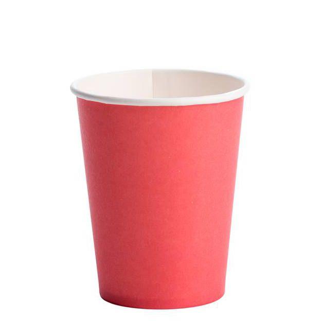 Copo Descartável de Papel 270 ml Liso Vermelho pacote c/ 10 unid