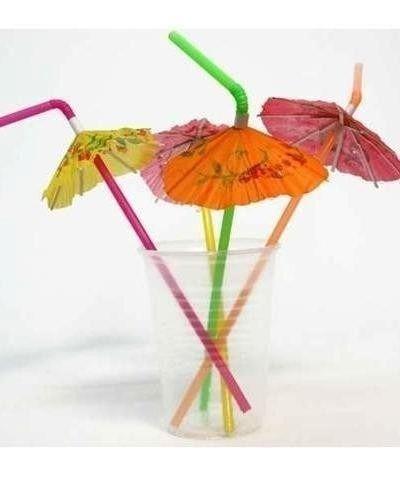 Enfeites para Drinks Canudo de Festa Guarda Chuva pacote com 12 unid