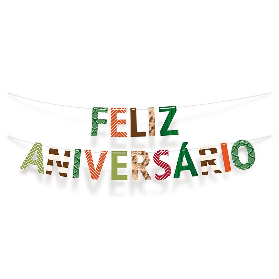 Faixa de Feliz Aniversário Festa Dinossauros