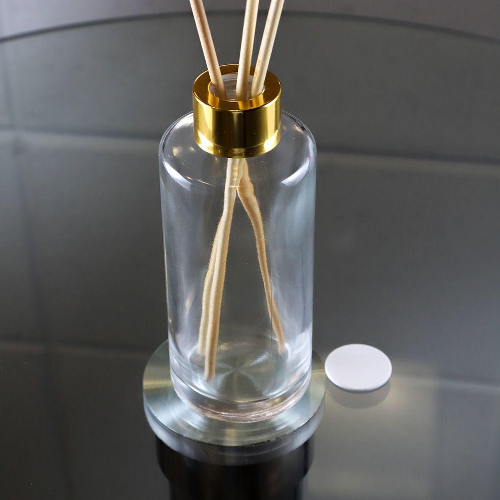 Frasco de Vidro para Aromatizador 200 ml Cilíndrico Tampa Luxo