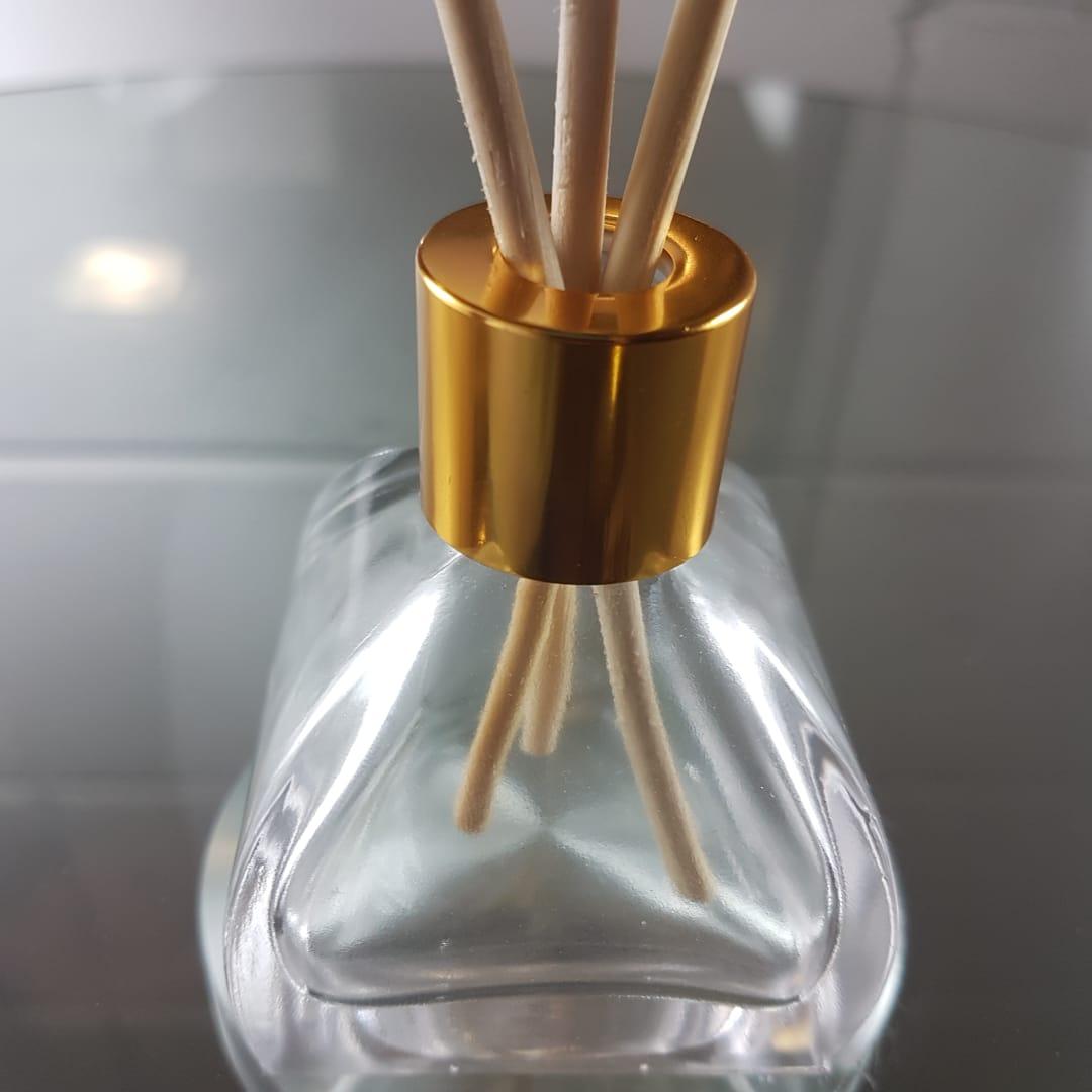 Frasco de Vidro para Aromatizador e Difusor 55ml Tampa Luxo Dourada