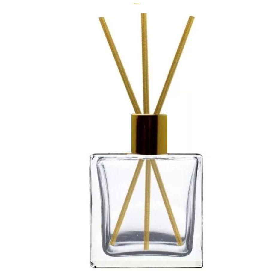 Frasco de Vidro para Aromatizador e Difusor Quadrado 80 ml Luxo  Dourada