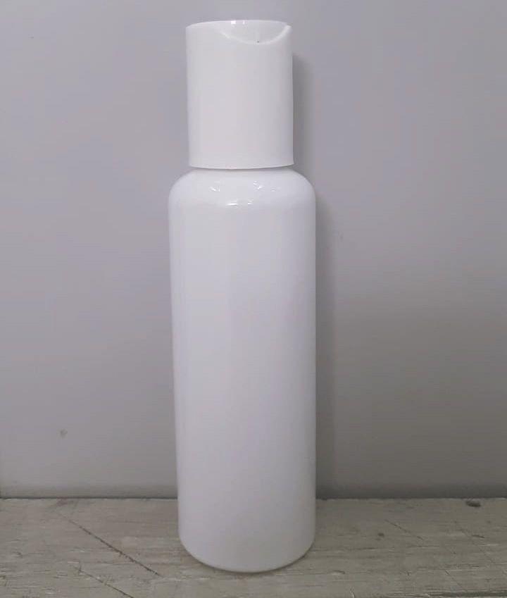 Frasco para Alcool Gel tampa Disk Top 120 ml Branco pct com 10 unid