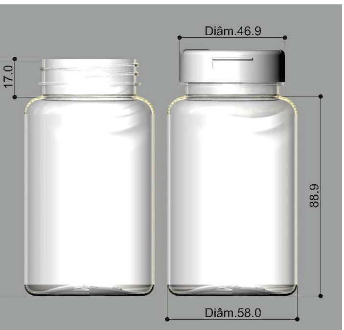 Frasco PET para cápsula 220 ml Rosca Flip Top kit 50 unid