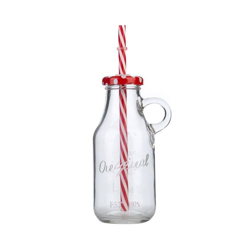 Garrafinha de Vidro Milk com Canudo Vermelha