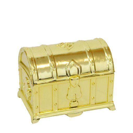 Mini Baú de Acrílico Dourado para Lembrancinhas kit 12 unid
