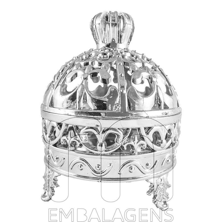 Porta Joia para Lembrancinhas Realeza de Coroa Prata kit com 12 unid