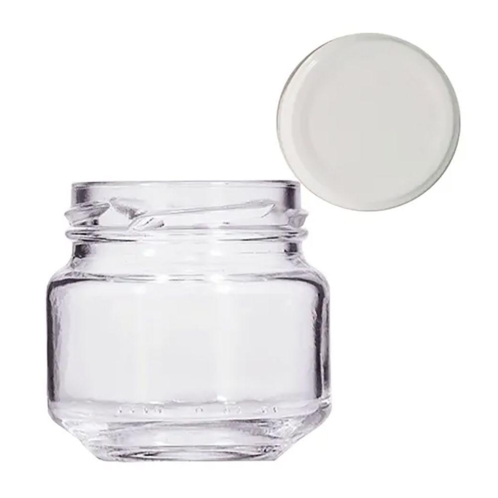 Pote de papinha de 40 ml de vidro liso com 10 unid