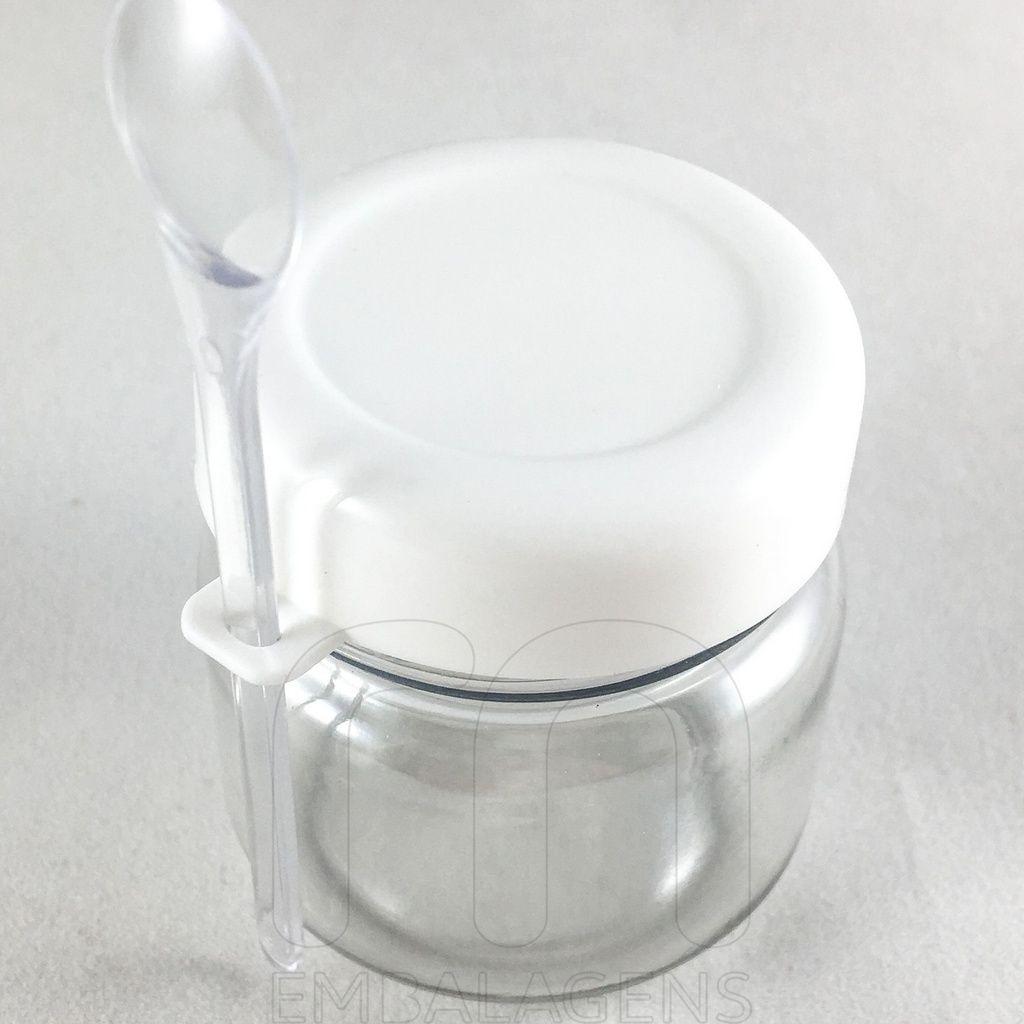 Potinho de Papinha para Lembrancinhas Plástico 40ml com Colher kit com 50 unid