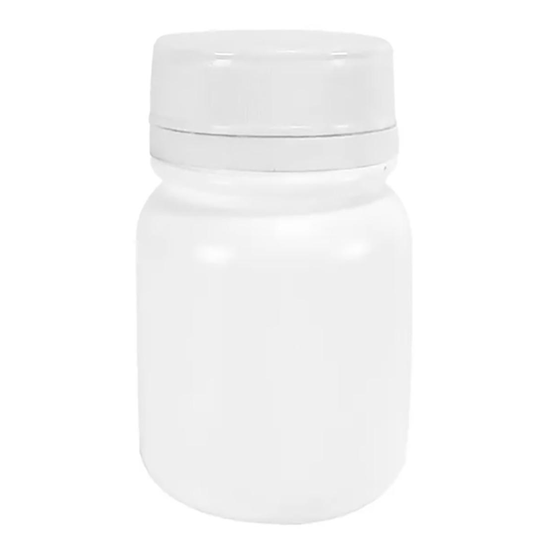 Pote Plástico para cápsula 120 ml Rosca Lacre kit com 50 unid