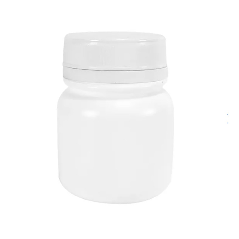 Pote Plástico para cápsula 60 ml Rosca Lacre kit com 50 unid