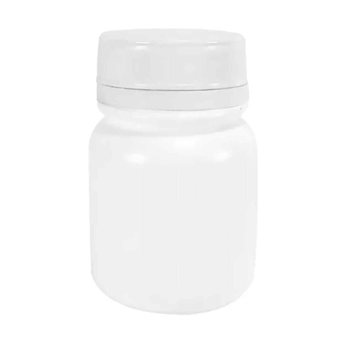 Pote Plástico para cápsula 90 ml Rosca Lacre kit com 50 unid