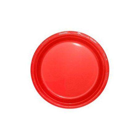 Pratinho para Sobremesa 18 cm Vermelho pacote com 10 unid