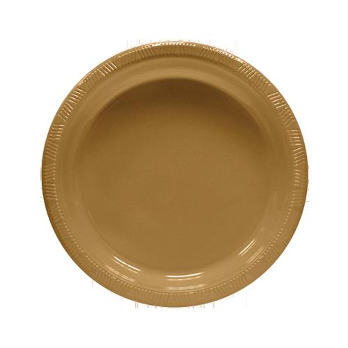 Pratos Descartáveis 18 cm Dourado pacote com 10 unid