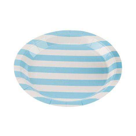 Pratos Descartáveis de papel Listrado Azul bebê pct com 10 unid
