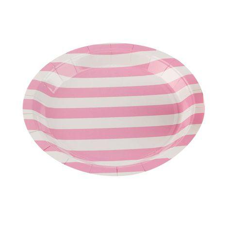 Pratos Descartáveis de papel Listrado Rosa Bebê pct com 10 unid