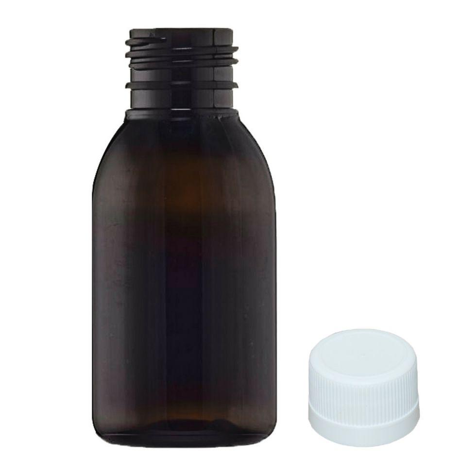 QUEIMA DE ESTOQUE - Frasco PET âmbar para Xarope 120 ml com tampa kit com 10