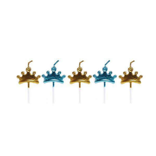 Vela de Aniversário 2D Coroa Príncipe pct com 5 unid