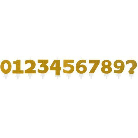 Vela de Aniversário Número Glitter Dourado