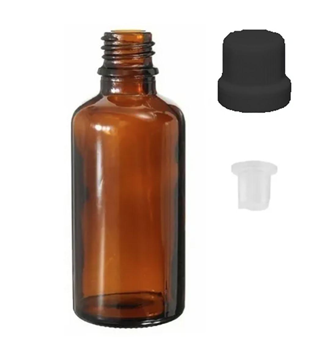 Vidro Âmbar de 30 ml Batoque Gotejador Tampa Preta kit com 50