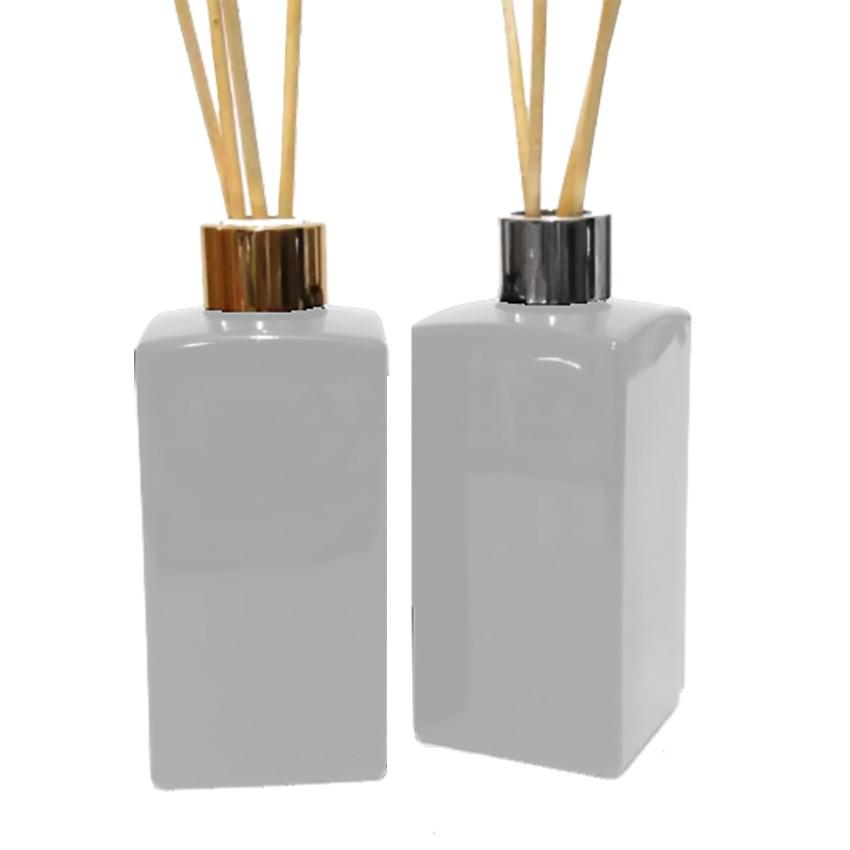 Vidro para Aromatizador 250ml Retangular Branco Luxo 2 unid