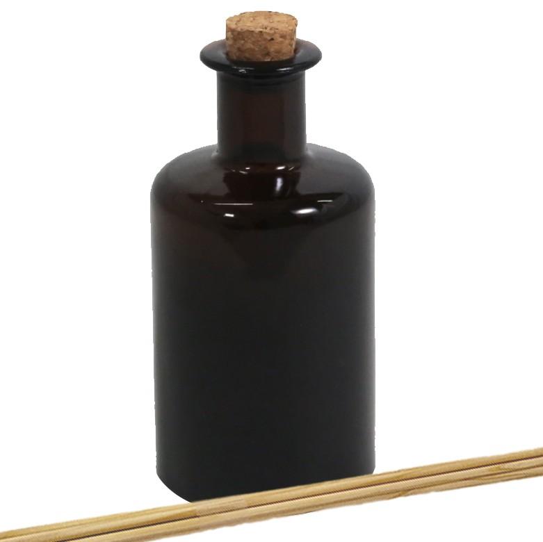 Vidro para Aromatizador âmbar Retrô 250 ml com rolha kit 2 unid
