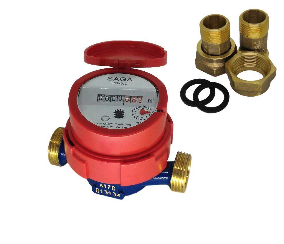 Hidrômetro Medidor de Água Unijato 1/2 Água Quente + Conexões