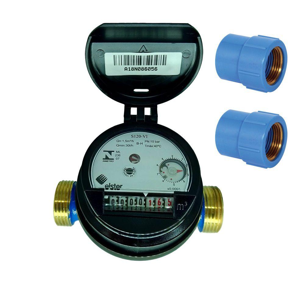 Hidrômetro Medidor de Água Unijato Rosca de 3/4 + Luvas BL