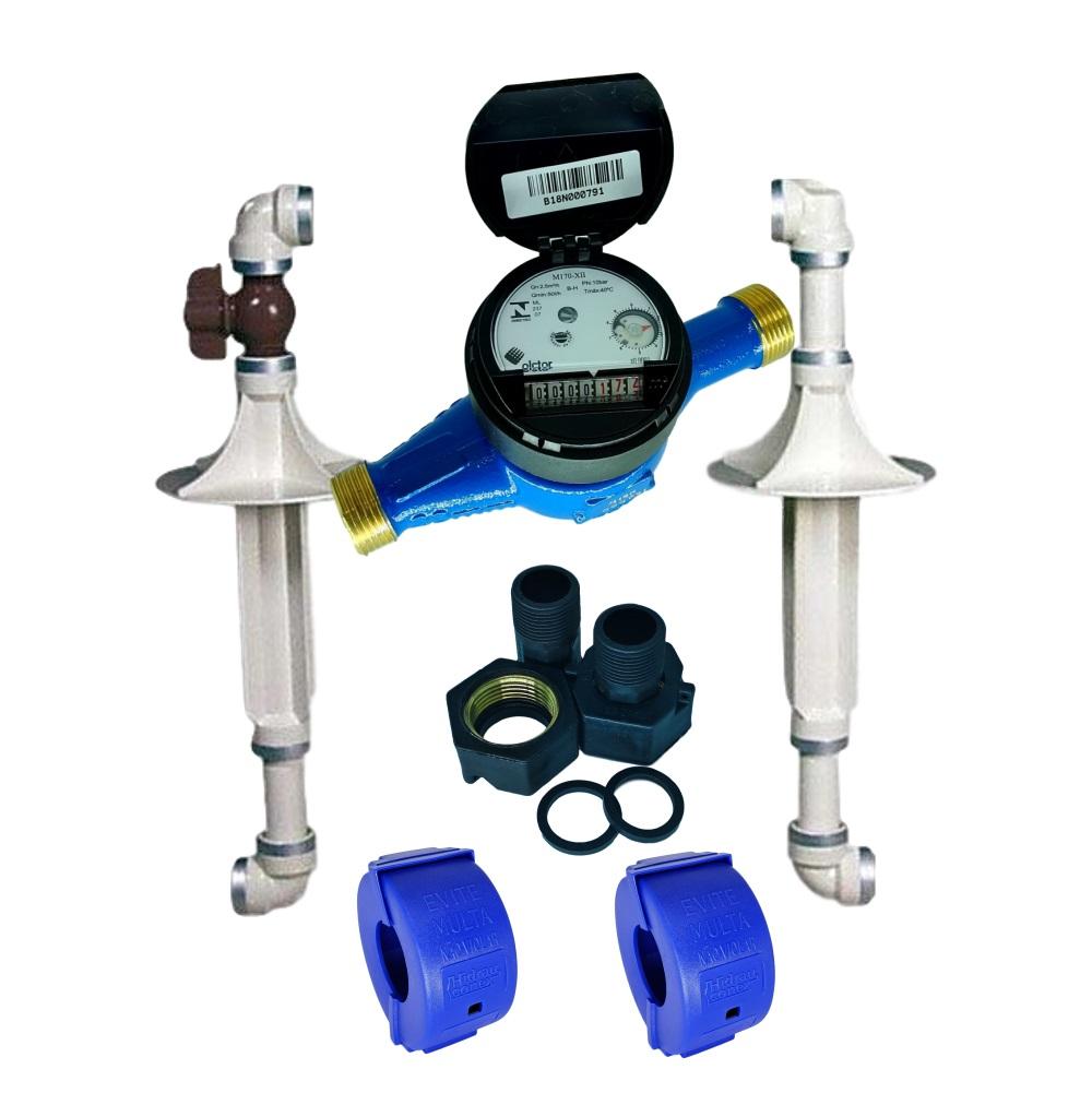 Hidrômetro Multijato de 3/4'' Qmax 5m³/h + Cavalete PVC