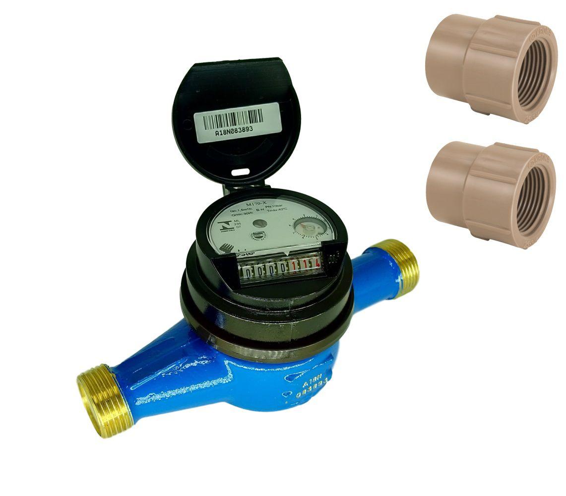 Hidrômetro Multijato para Tubo de 32mm Qmax 3m³/h + Luvas