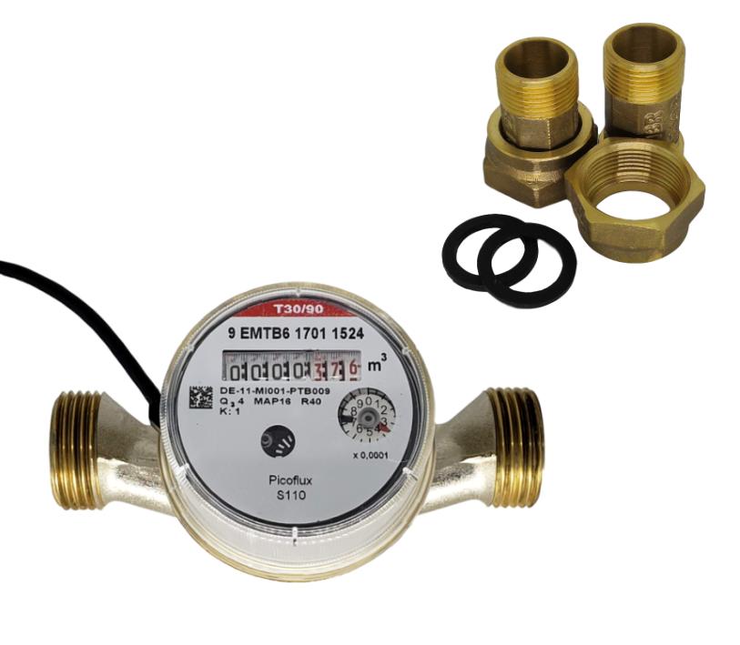 Hidrômetro Unijato 1/2 3m³/h Água Quente Equipado + Conexões