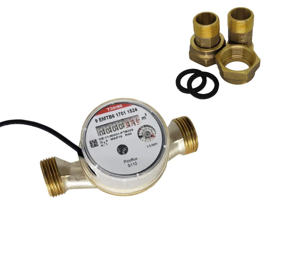 Hidrômetro Unijato 3/4 5m³/h Água Quente Equipado + Conexões