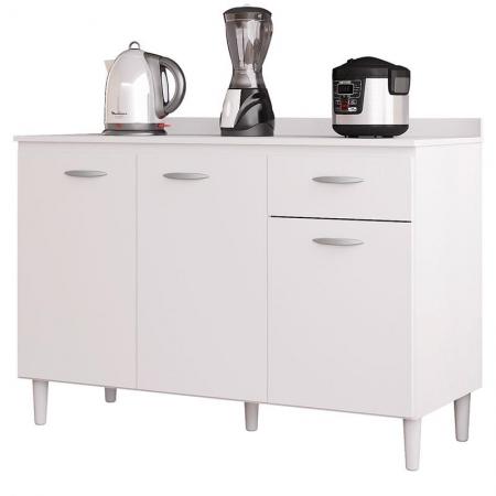Balcão de Cozinha com Tampo 120 cm Branco Brilho - Poquema