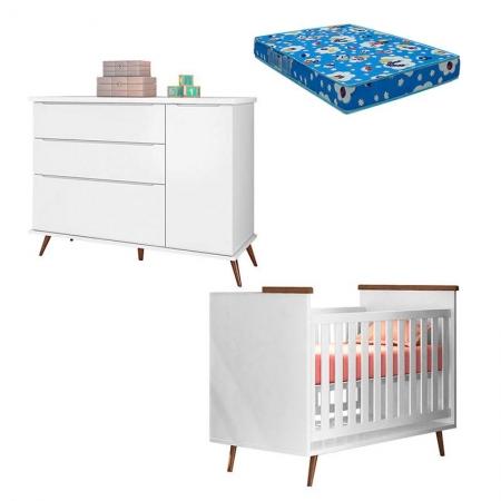 Berço Americano com Colchão e Cômoda Infantil Alice Branco Acetinado - Phoenix Baby