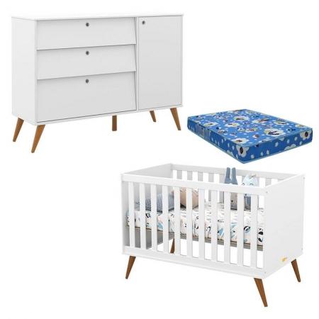 Berço Americano com Colchão e Cômoda Infantil Retro Gold Branco Soft Eco Wood - Matic