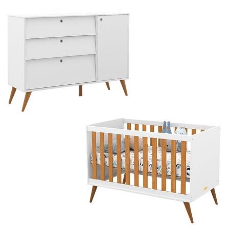 Berço Americano e Cômoda Infantil Retro Gold Branco Freijó Eco Wood - Matic