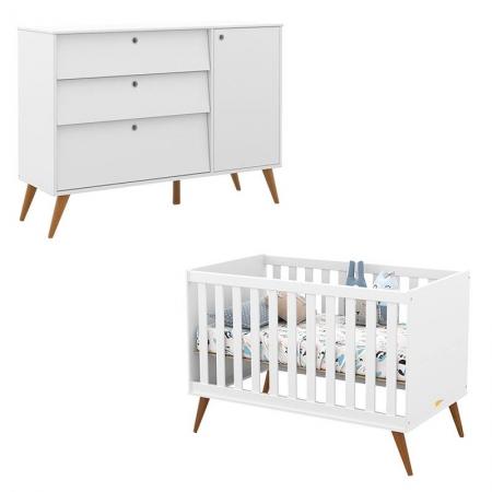 Berço Americano e Cômoda Infantil Retro Gold Branco Soft Eco Wood - Matic
