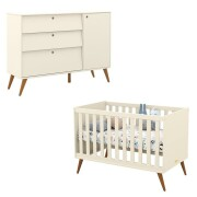 Berço Americano e Cômoda Infantil Retro Gold Off White Eco Wood - Matic