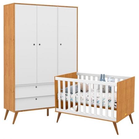 Berço Americano e Guarda Roupa Infantil 3 Portas Retro Gold Freijó Branco Eco Wood - Matic